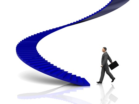 3d illustration of businessman step to stairway Stock Illustration - 7131389