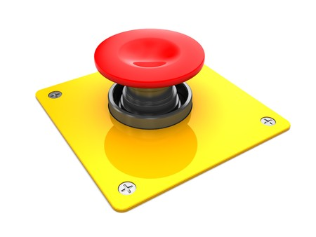 3d illustration of red button with yellow plate, over white background illustration