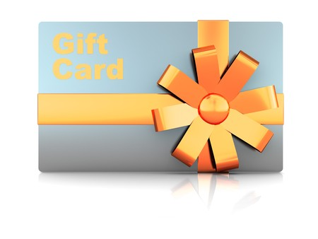 3d illustration of gift plastic card with ribbon Stock Illustration - 7131404