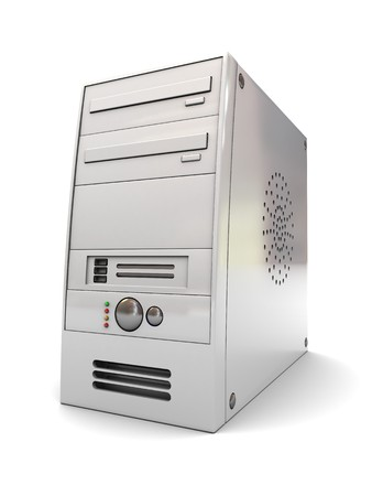 compute: 3d illustration of desktop computer case over white background