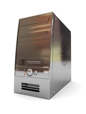 fileserver: 3d illustration of desktop computer case over white background