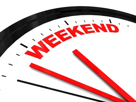 weekends: abstract 3d illustration of clock dial with text weekend on it Stock Photo