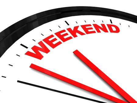 """illustrazione 3d astratto del quadrante di orologio con testo """"fine settimana"""" su di essa Archivio Fotografico"""