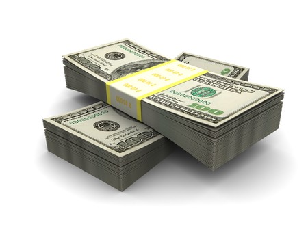 3d illustration of dollars stack over white background Stock Illustration - 7131424