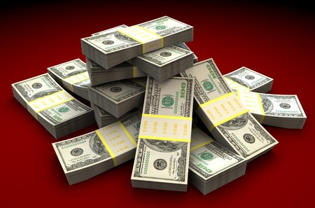 pile of money: 3d illustration of dollars heap over dark red background Stock Photo