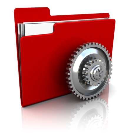 backups: 3d illustration of red folder icon with gear wheel Stock Photo