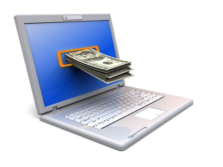 money stack: 3d illustration of laptop computer with money stack in screen
