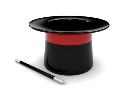 3d illustration of magic hat and stick over white background Stock Illustration - 7131392