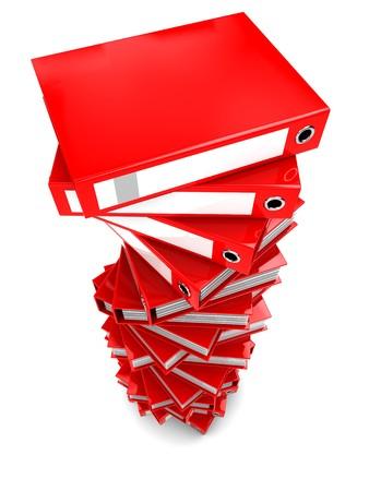 drudgery: 3d illustration of document folders large heap, over white background