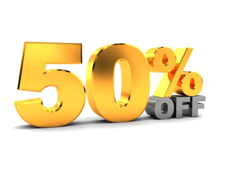 half price: 3d illustration of fifty percent discount sign, over white background