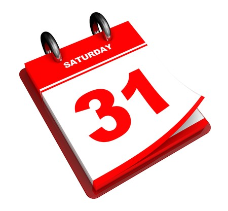 end of the day: 3d illustration of generic calendar isolated over white background