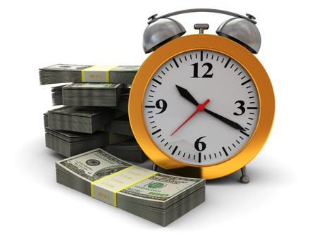 money time: abstract 3d illustration of alarm clock and money stacks, over white background Banque d'images