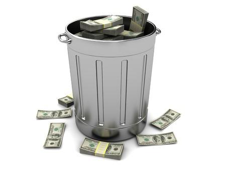 3d illustration of trashcan full of money, over white background illustration