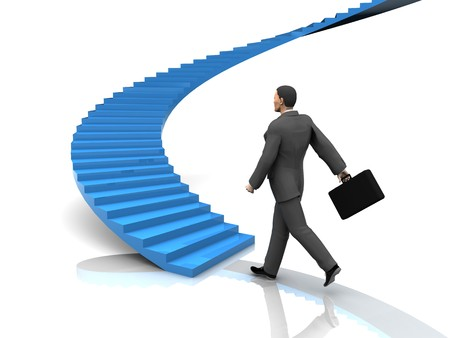 career life: 3d illustration of busnessman moving forward to stairway
