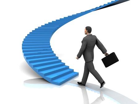 competencias laborales: Ilustraci�n 3D de busnessman hacia adelante de la escalera Foto de archivo
