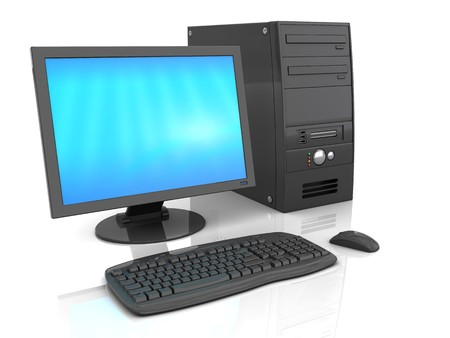 the computer monitor: 3d illustration of black desktop computer over white background with refelction