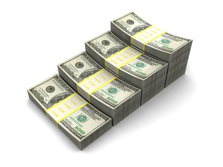 3d illustration of dollars stairway, over white background Stock Illustration - 7165899
