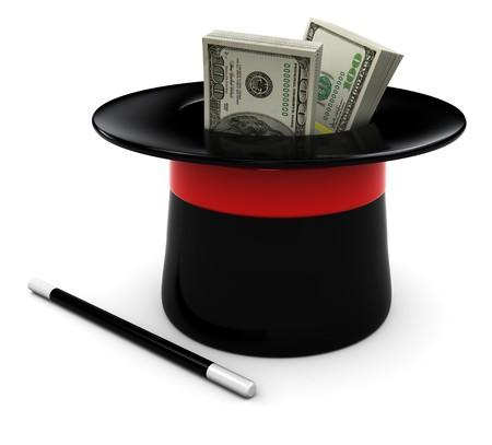 sombrero de mago: Ilustraci�n 3D de varita m�gica y sombrero con dinero, sobre fondo blanco