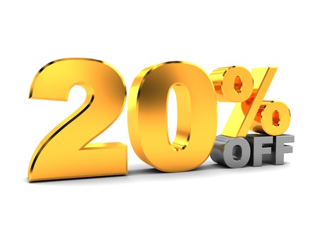 3d illustration of 20 percent discount sign over white background illustration