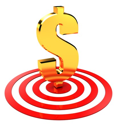 美元符號在目標中心抽象的三維圖
