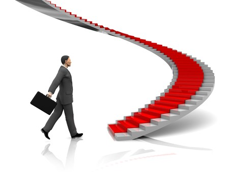 3d illustration of businessman step to stairway with red carpet Stock Illustration - 7224417