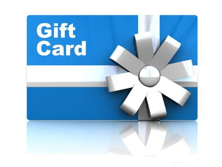 3d illustration of gift card, over white background with reflection Stock Photo