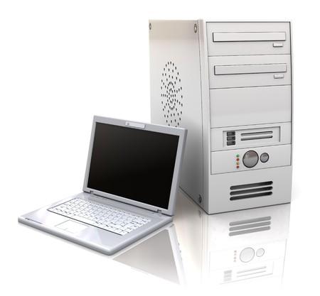 case: Ilustraci�n 3D de las computadoras de escritorio y port�tiles, sobre fondo blanco