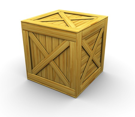 wooden crate: 3d illustration of wooden crate over white background