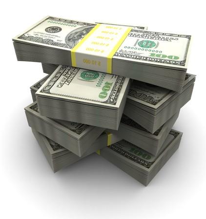 3d illustration of dollars banknotes heap, over white background Stock Illustration - 7224501