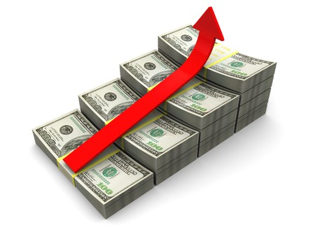 3d illustration of raising dollars chart with red arrow Stock Illustration - 7224508