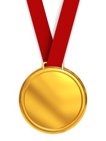 3d illustration of golden medal over white background Stock Illustration - 7224487