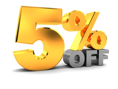 big five: 3d illustration of five percent discount sign, over white background Stock Photo