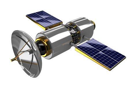 sputnik: 3d illustration of broadcasting satellite isolated over white background Stock Photo
