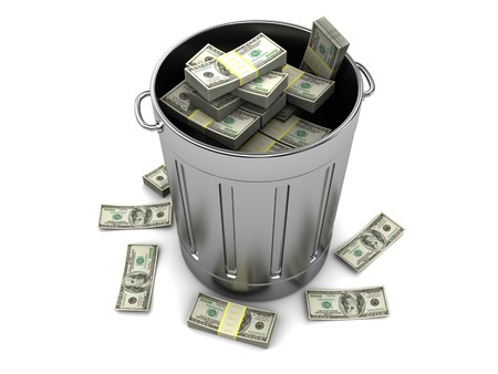wasteful: 3d illustration of trashcan with dollars, over white background