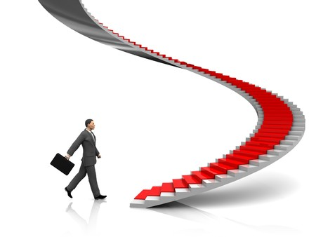 3d illustration of businessman step to stairway with red carpet Stock Illustration - 7291384