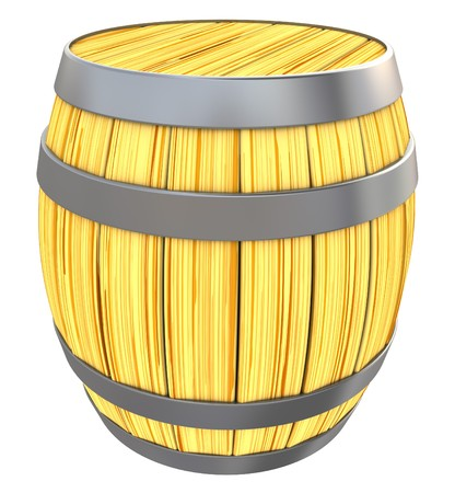 3d illustration of wooden barrell isolated over white background illustration