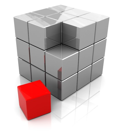 abstract 3d illustration of box building with blocks, with red one illustration