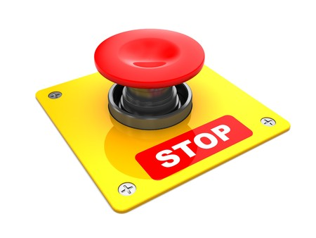 risks button: 3d illustration of big red button with stop caption Stock Photo