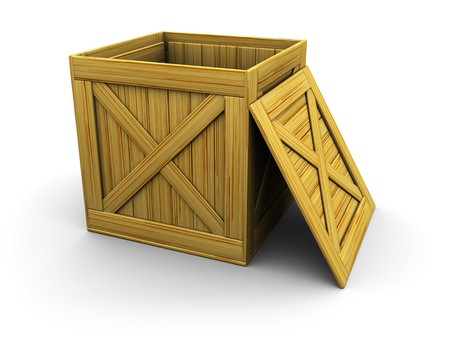 unpacking: 3d illustration of wooden crate over white background