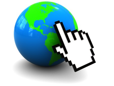 3d illustration of hand mouse cursor over earth globe illustration