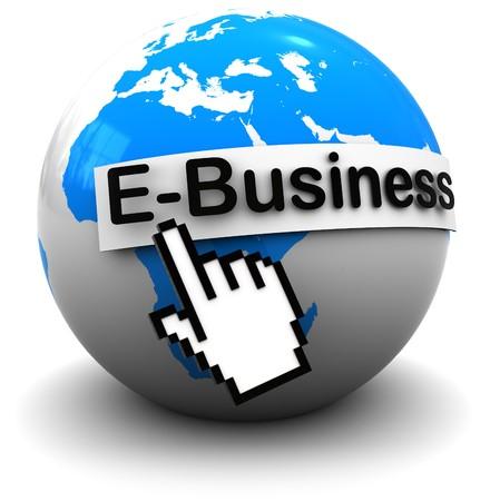 metadata: illustrazione 3D del globo di terra con business internet firmare, su sfondo bianco
