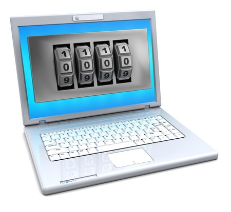 3d illustration of laptop computer whith combination lock in screen illustration