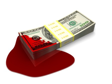 splattered: 3d illustration of dollars stack splattered with blood Stock Photo