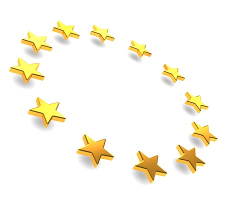 travel star: abstract 3d illustration of european stars circle over white background Stock Photo