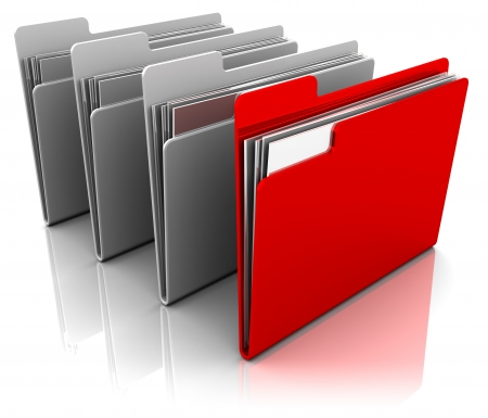 organized: 3d illustration of folder icons row with one selected