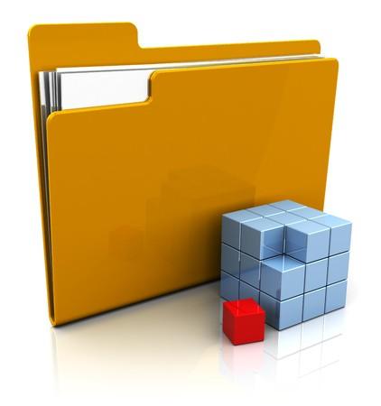 abstract 3d illustration of folder icon with blocks construction symbol illustration