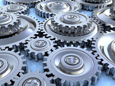 gearing: abstract 3d illustration of steel gear wheels background