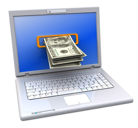 3d illustration of laptop computer with money inside screen