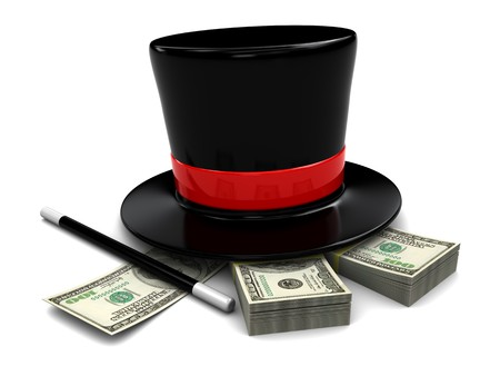 magic trick: 3d illustration of magic hat and wand with dollars stack