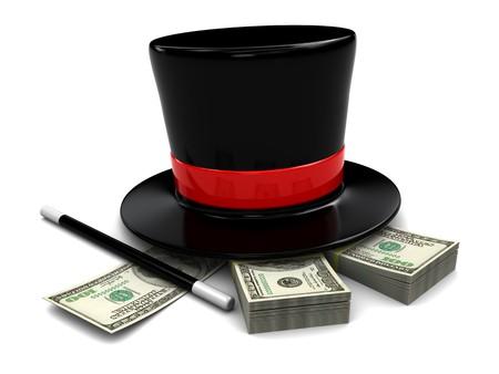 wizard hat: Ilustraci�n 3D de sombrero m�gico y varita con pila de d�lares